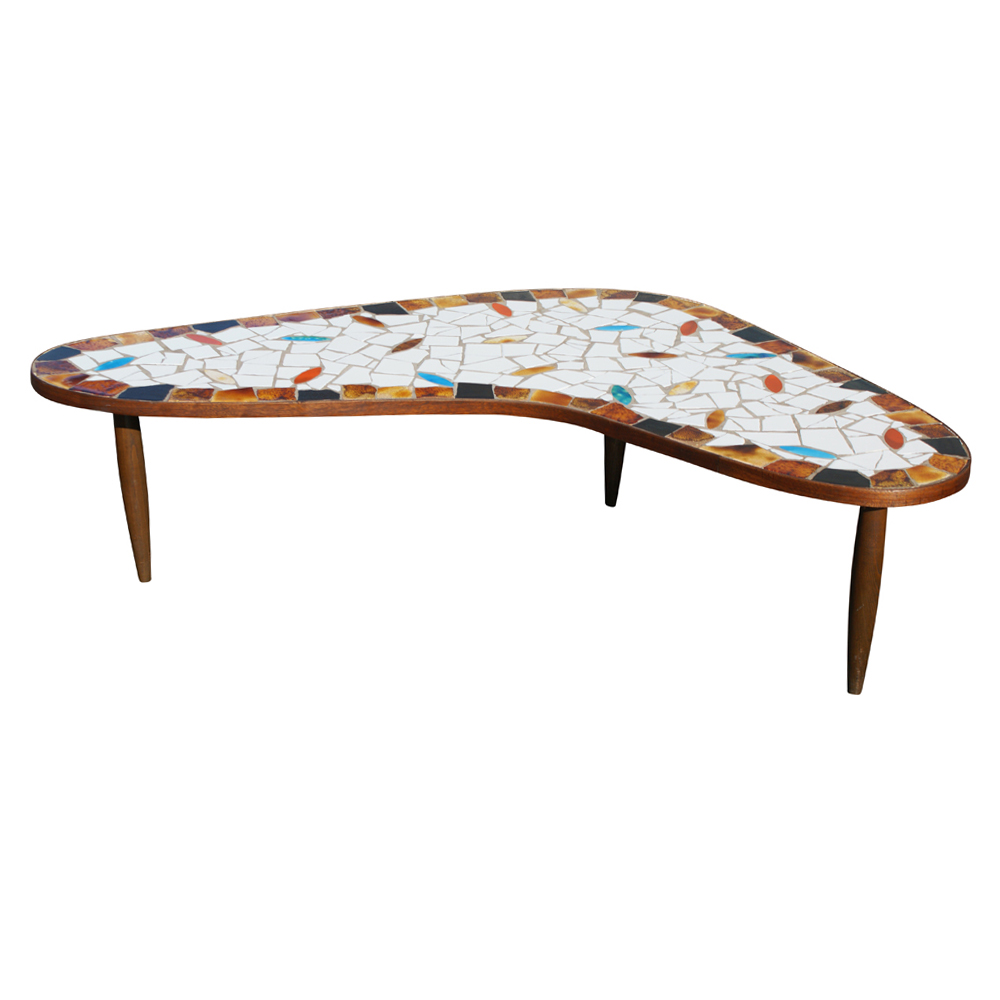 Mid century modern boomerang wood tile coffee table ebay Mid century coffee tables