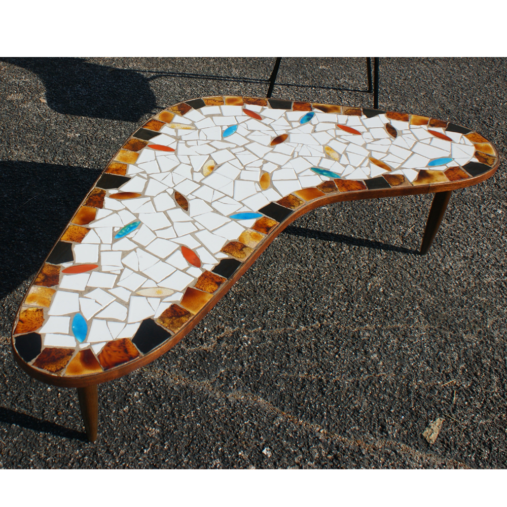 Midcentury retro style modern architectural vintage furniture from mid century modern boomerang wood and tile coffee table ceramic tile top wood tapered legs dailygadgetfo Gallery