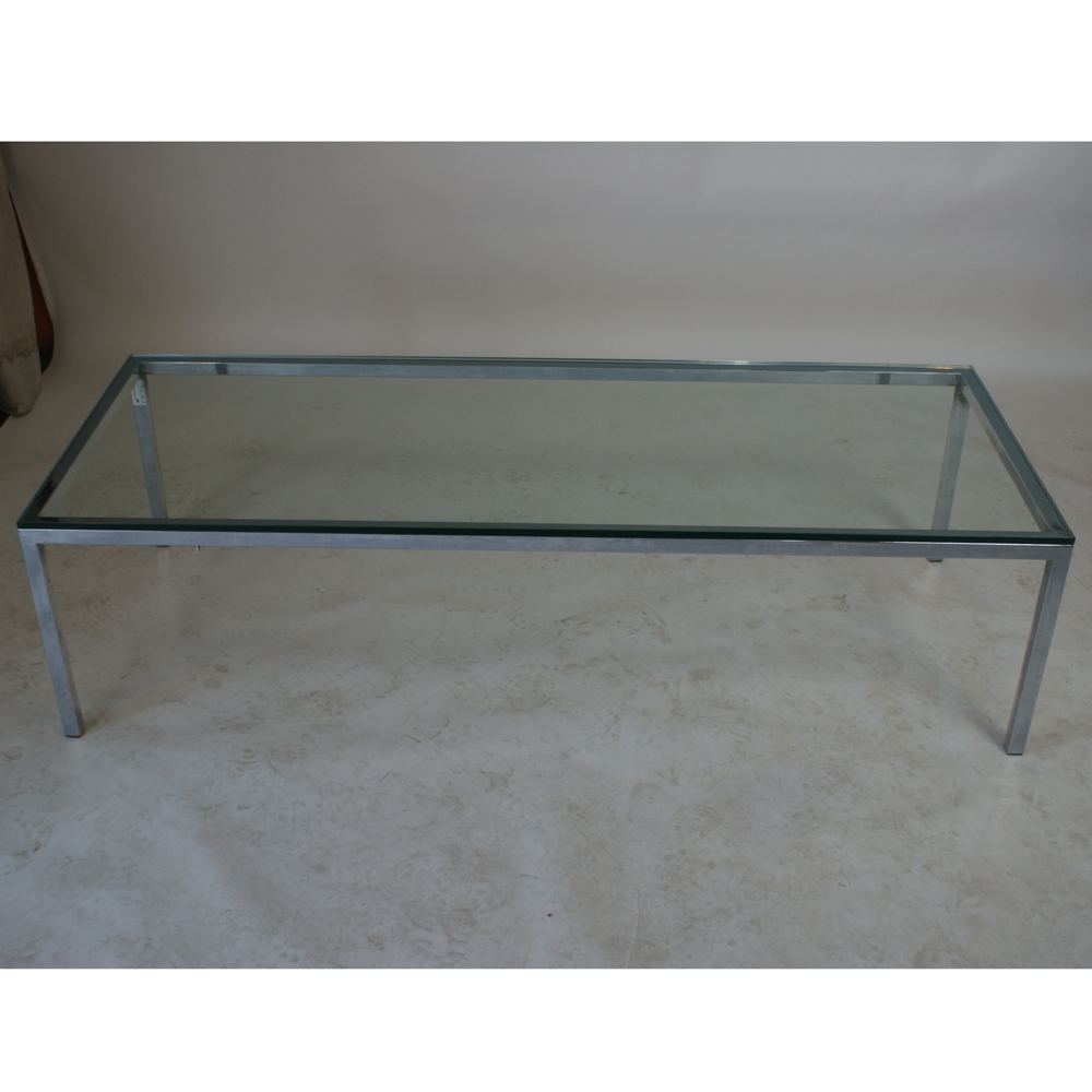 5ft Florence Knoll Style Chrome Glass Coffee Table