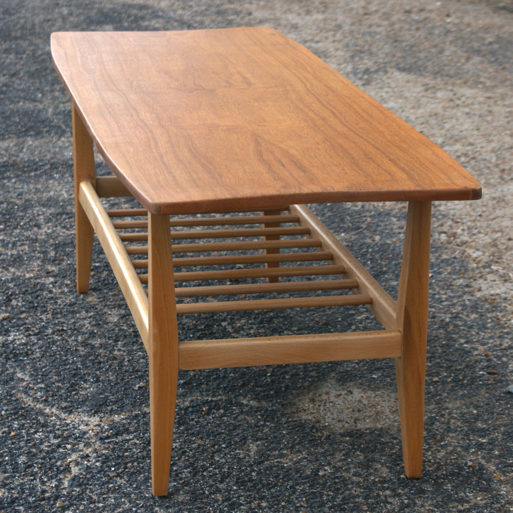 "Danish Style Coffee Table: 47"" Vintage Danish Style Oak Two Tier Coffee Table"