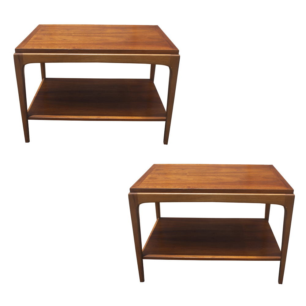 2 Vintage Lane Walnut Side End Tables Ebay