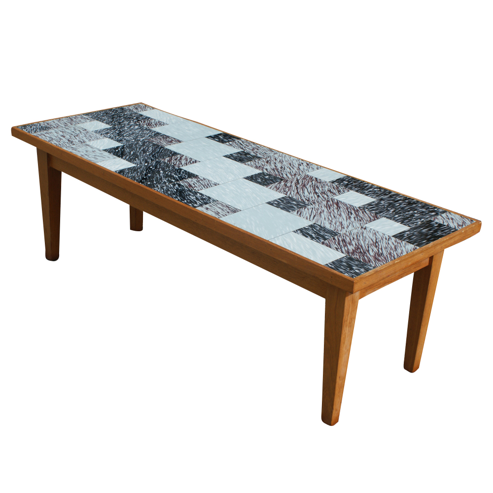 Details About Vintage Danish Style Coffee Table With Glass Tile