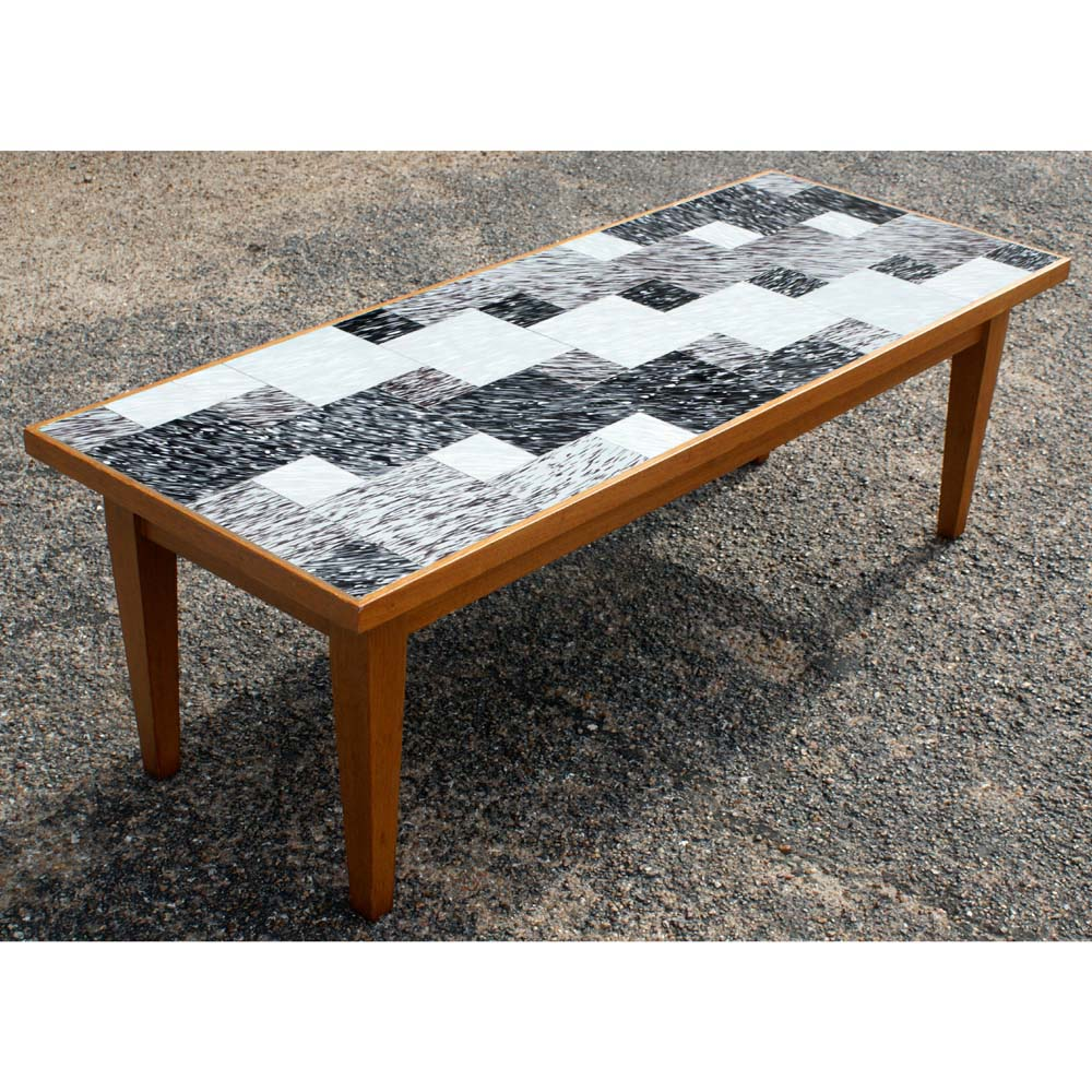 vintage danish style coffee table with glass tile ebay. Black Bedroom Furniture Sets. Home Design Ideas