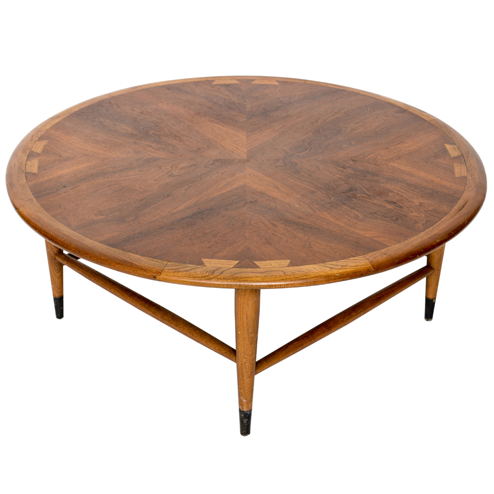 Vintage walnut lane acclaim round coffee table ebay for Vintage coffee table