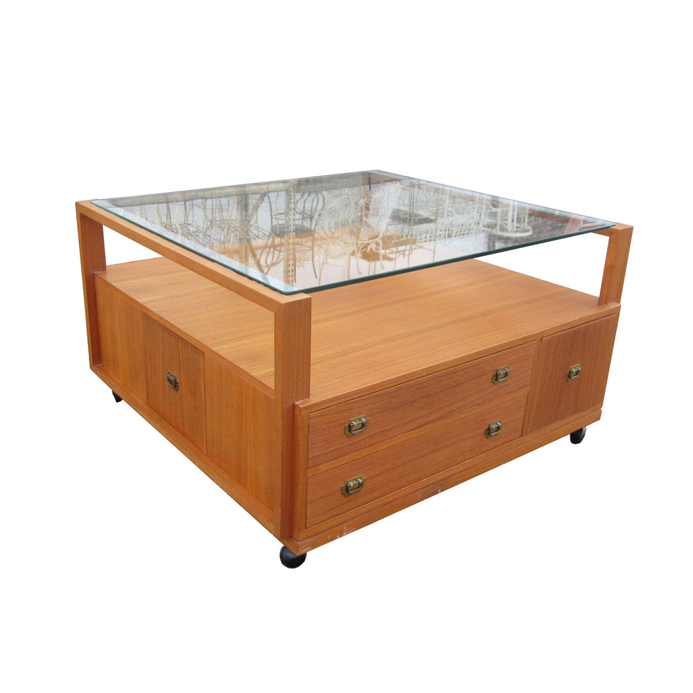 Coffee Table With Drawers: 3 Ft. Teak Coffee Table With Glass Top And Drawers