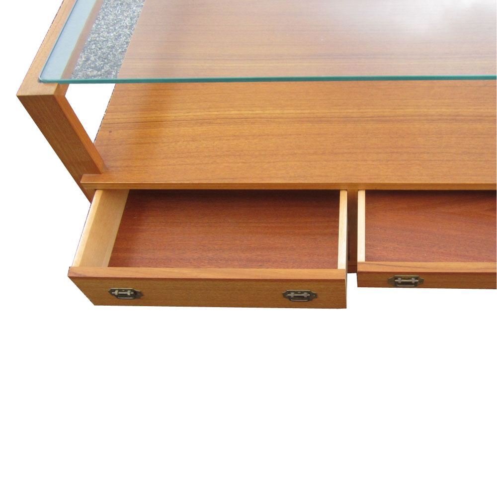 3 Ft. Teak Coffee Table With Glass Top And Drawers