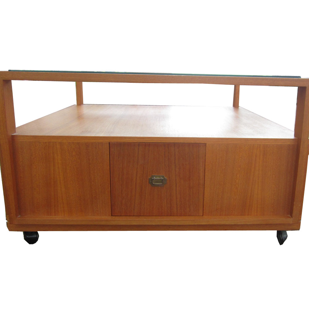 Coffee Table With Drawers Sale: 3 Ft. Teak Coffee Table With Glass Top And Drawers