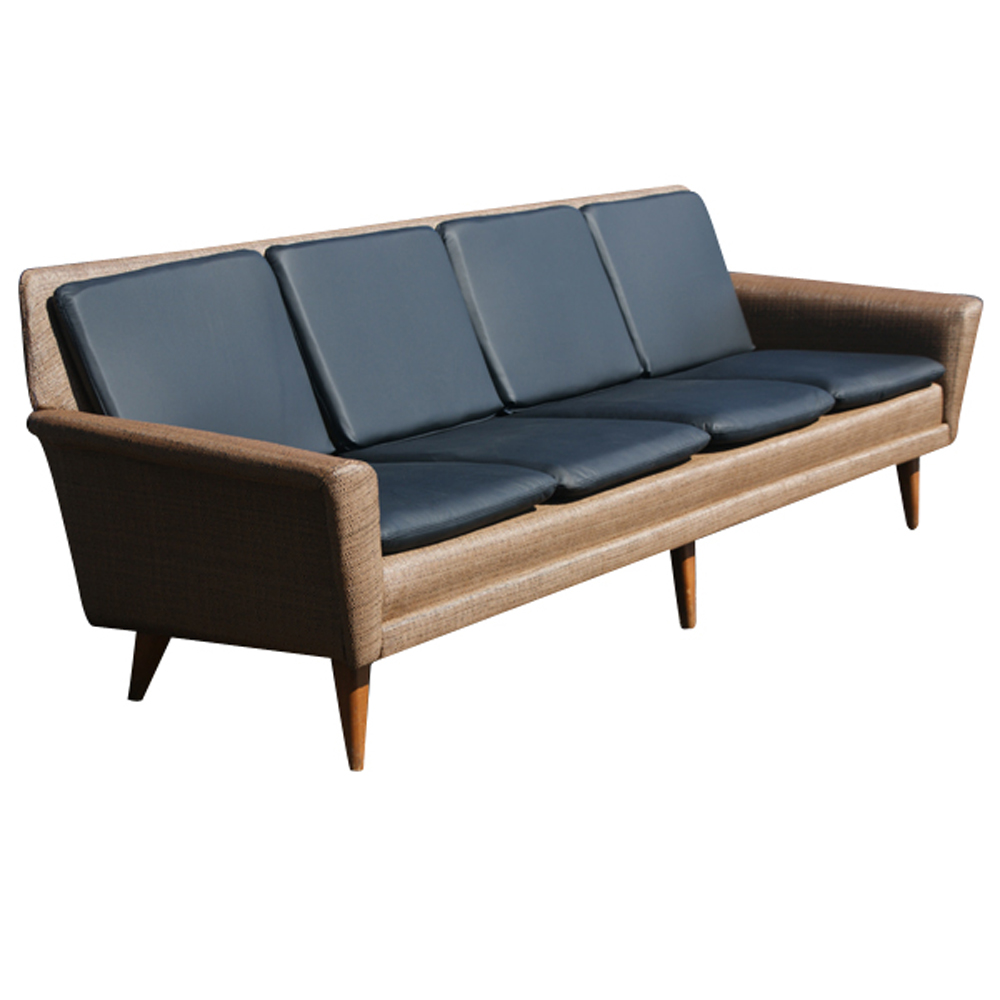 8ft restored danish modern dux leather sofa couch on sale. Black Bedroom Furniture Sets. Home Design Ideas
