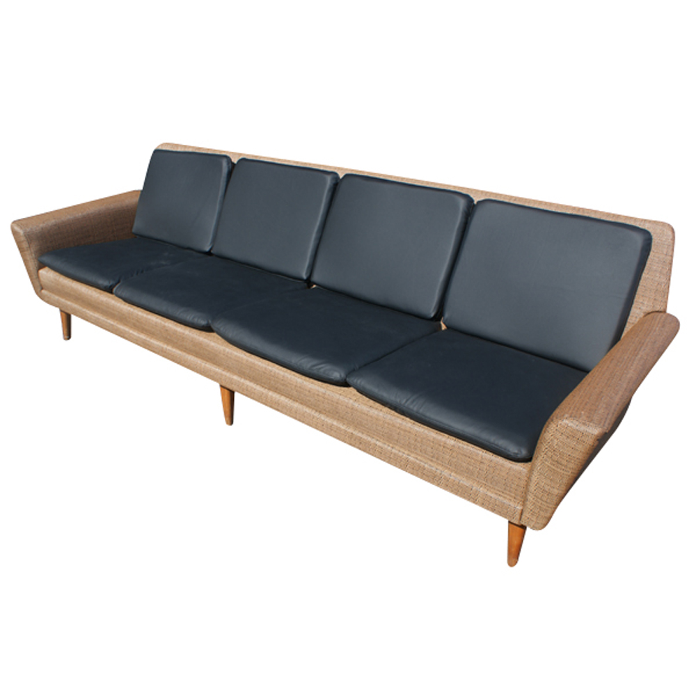 8ft Restored Danish Modern Dux Leather Sofa Couch On Sale 45 Off Ebay