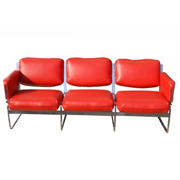 Vintage Mid Century Modern Sofa Couch Chrome Base Features Red Vinyl Upholstery Polished Frame This Three Seat Theater Seating Is Great For