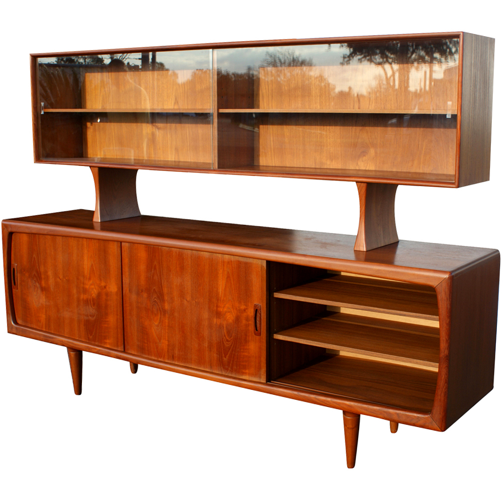 H p hansen danish modern teak breakfront buffet price for Danish modern reproduction