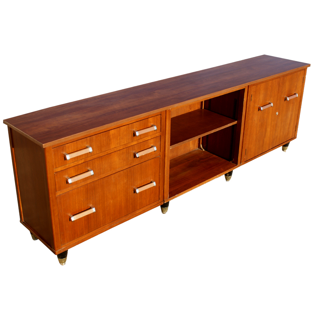 89 Vintage Traditional Walnut Credenza Refinished Ebay