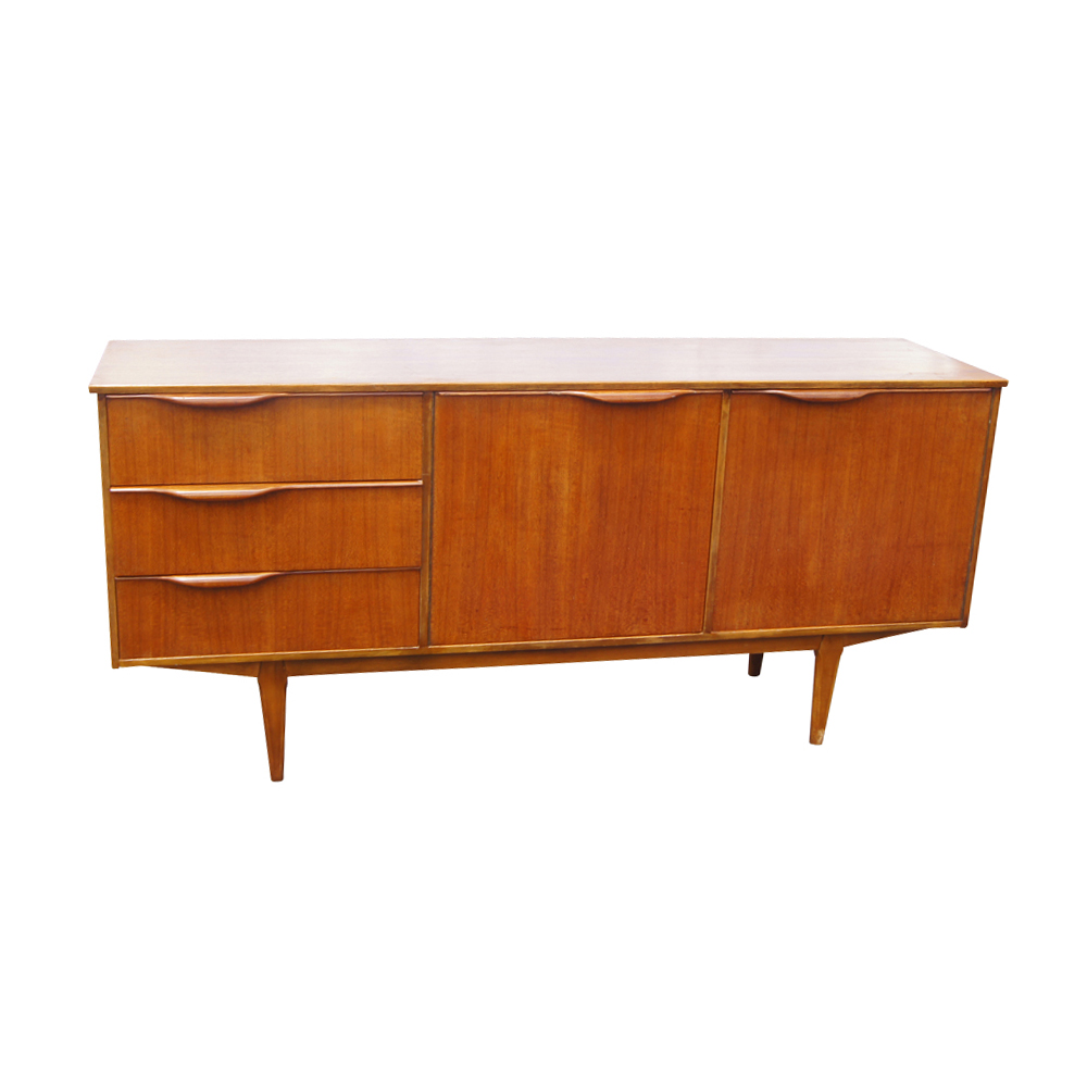 66 vintage mid century modern teak sideboard credenza ebay. Black Bedroom Furniture Sets. Home Design Ideas
