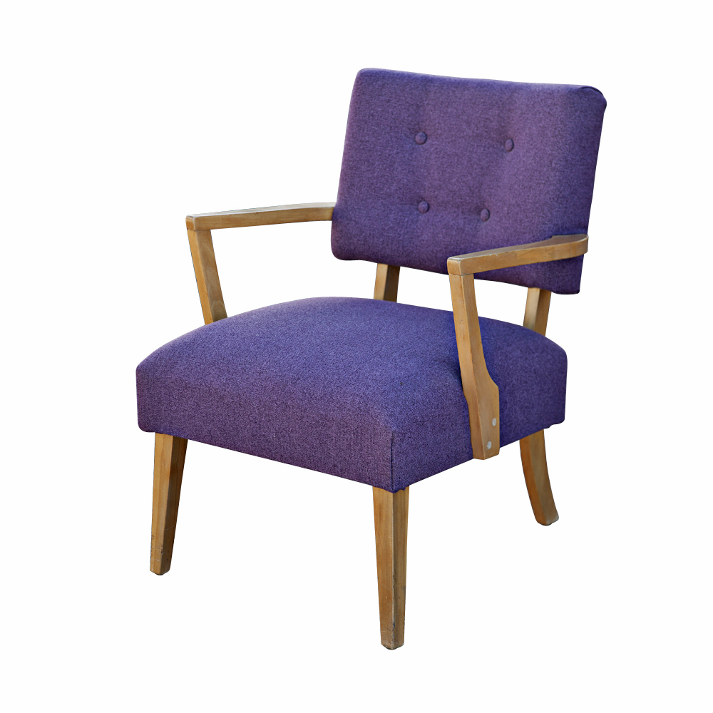 Mid century modern purple danish armchair for Mid century modern armchairs