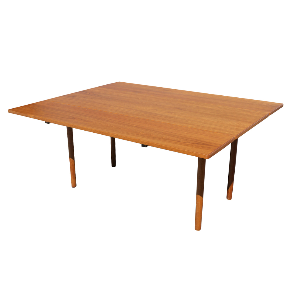 Dining Table Teak Drop Leaf Table Tapered Wood Legs The Table Ends Are