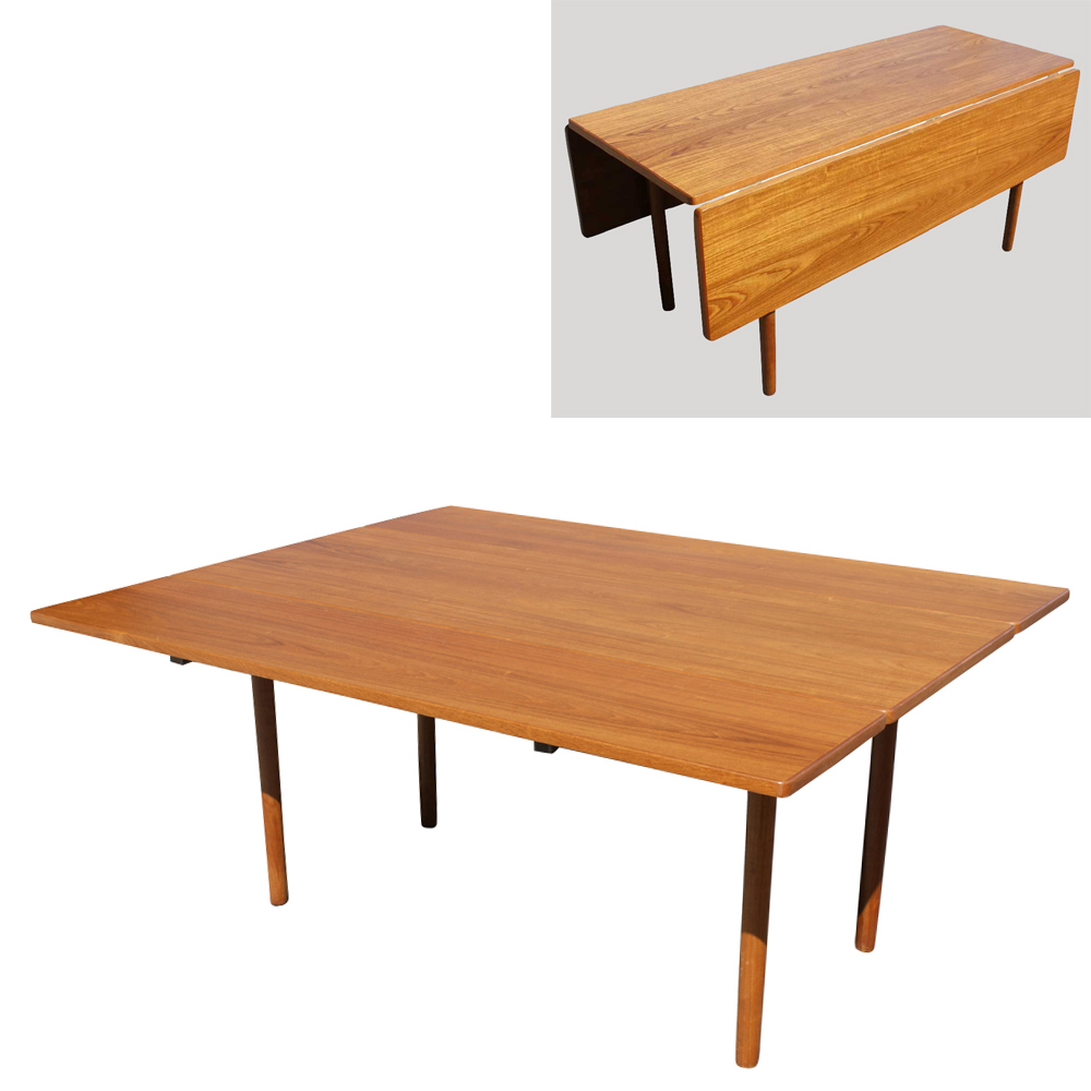Danish mid century modern drop leaf dining table ebay for Furniture dining table