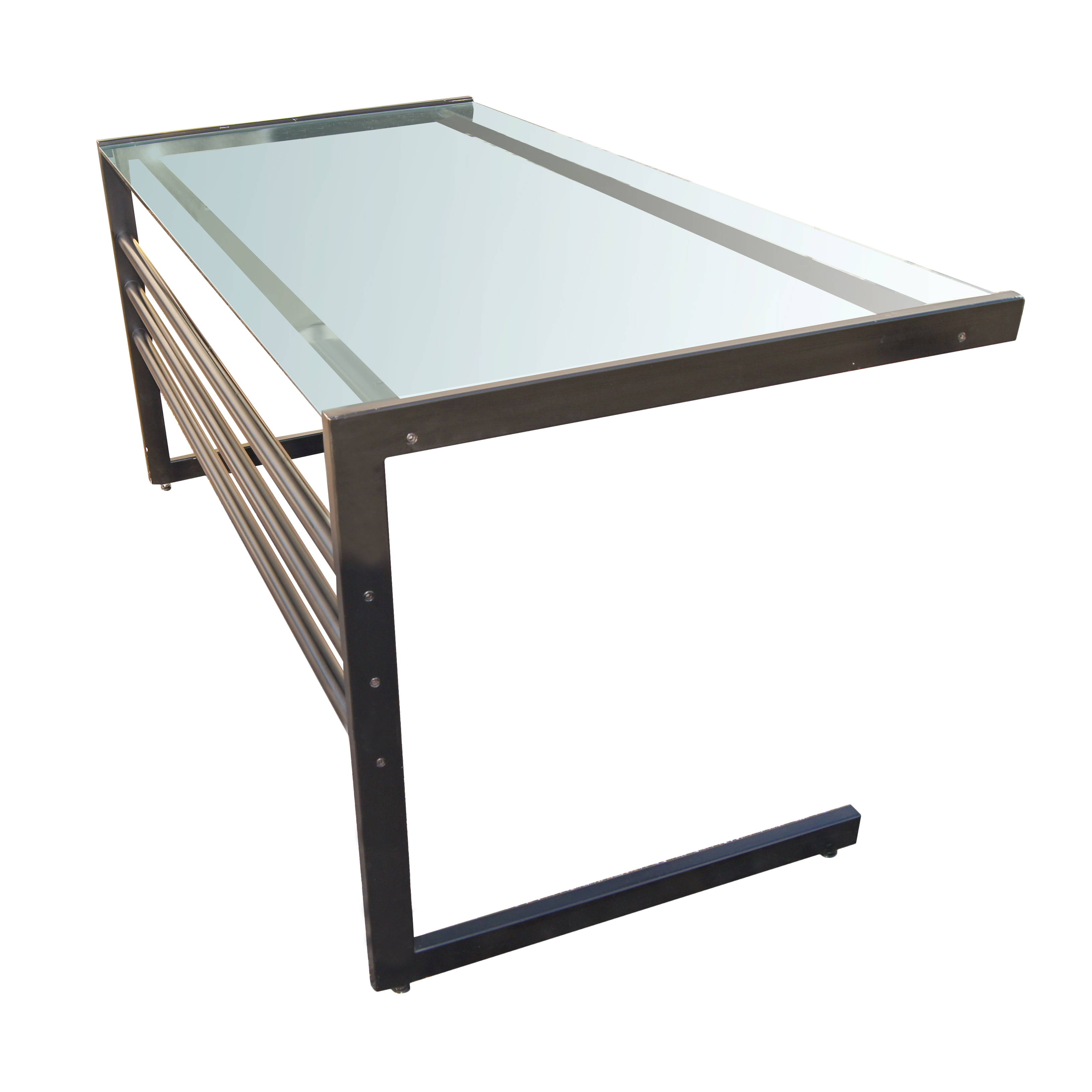 Ikea glass table desk - Metal And Glass Computer Desk Modern Metal Base Rectangular Glass