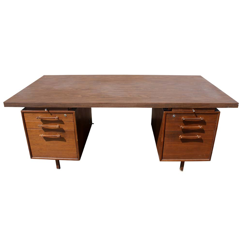 1 70 vintage industrial office supply walnut desk ebay - Walnut office desk ...