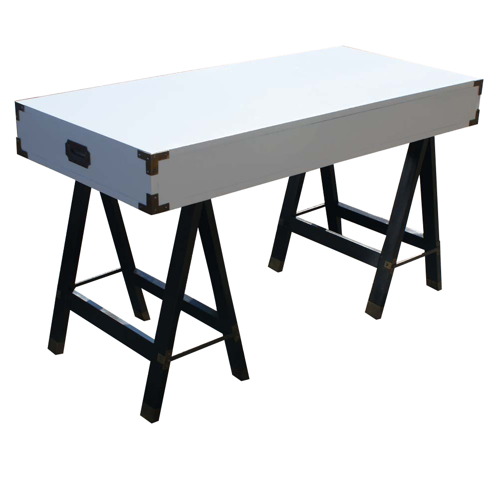 White Lacquer Campaign Desk With Brass Hardware Usa 1960 S Red On Trestle Style