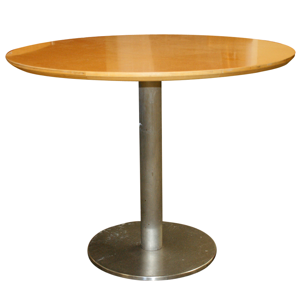 Dining round table wood top with beveled edge chrome pedestal base