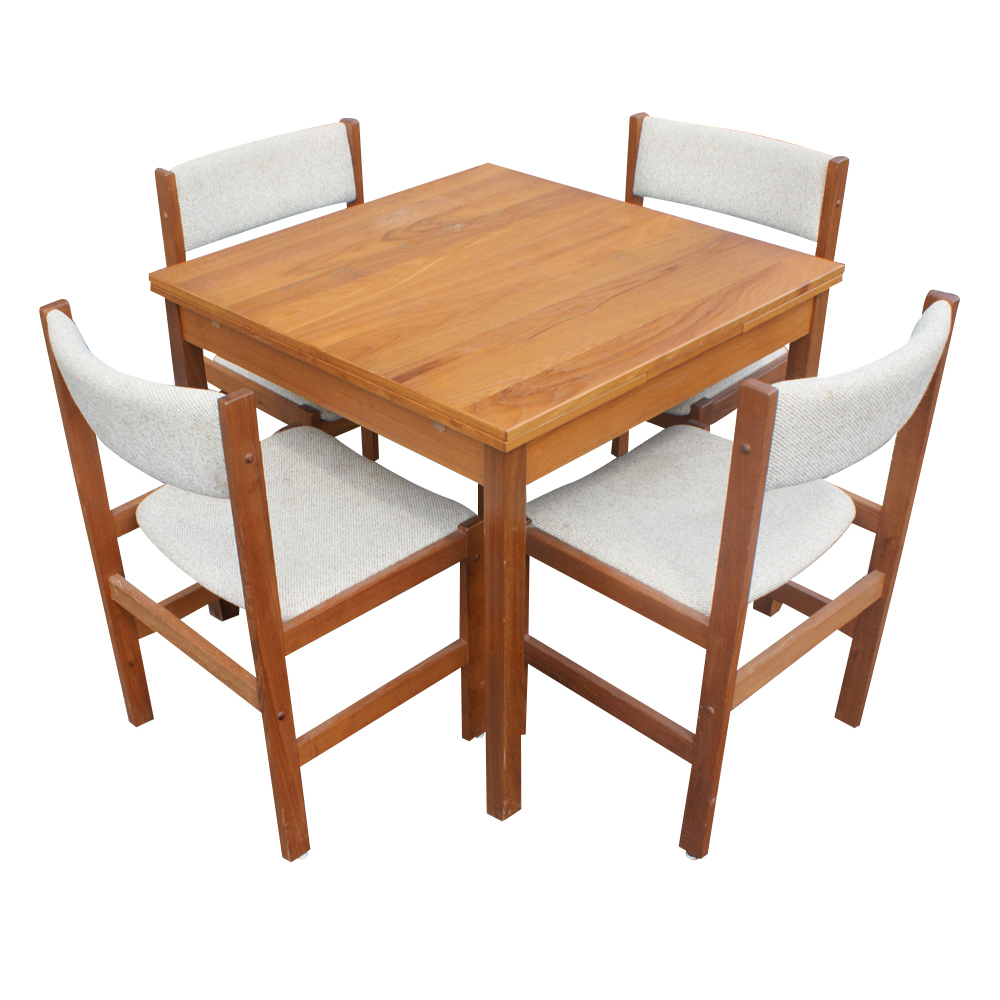 Vintage Danish Teak Extension Dining Table Amp 4 Chairs Ebay