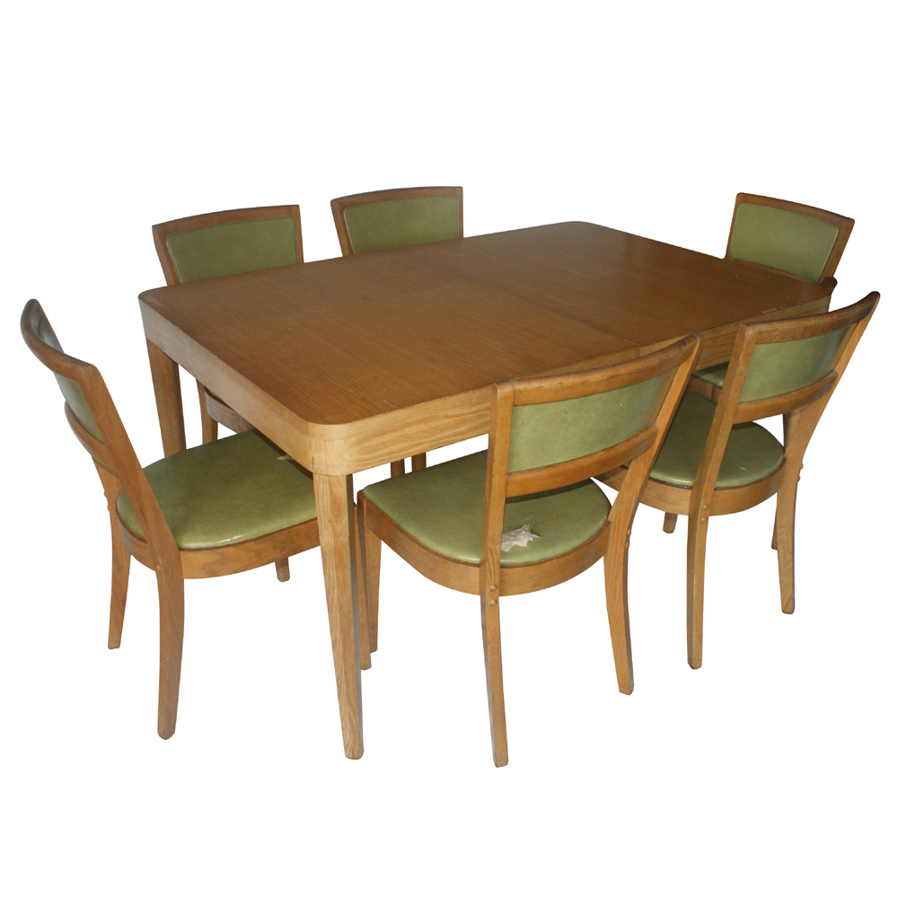 Details About Vintage Oak Dining Table And 4 Side Chairs Set