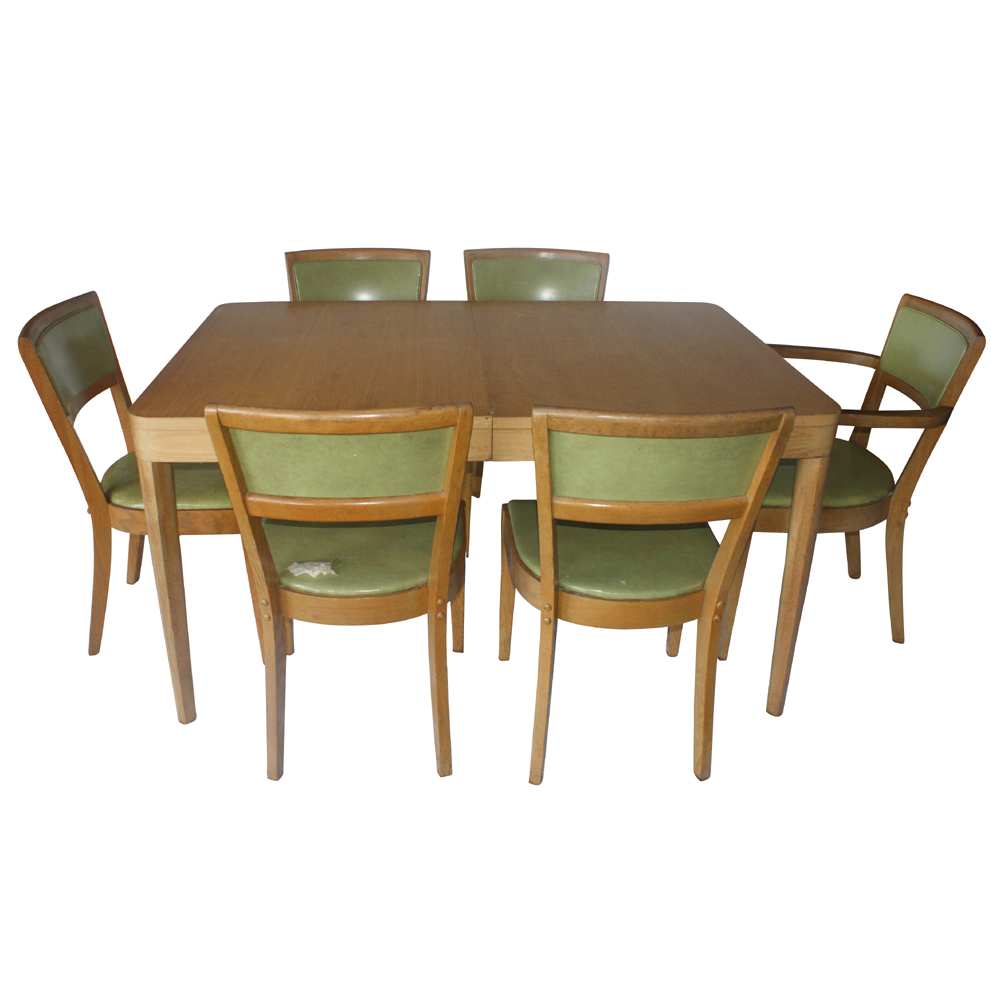 Details about Vintage Oak Dining Table and (4) Side Chairs Set