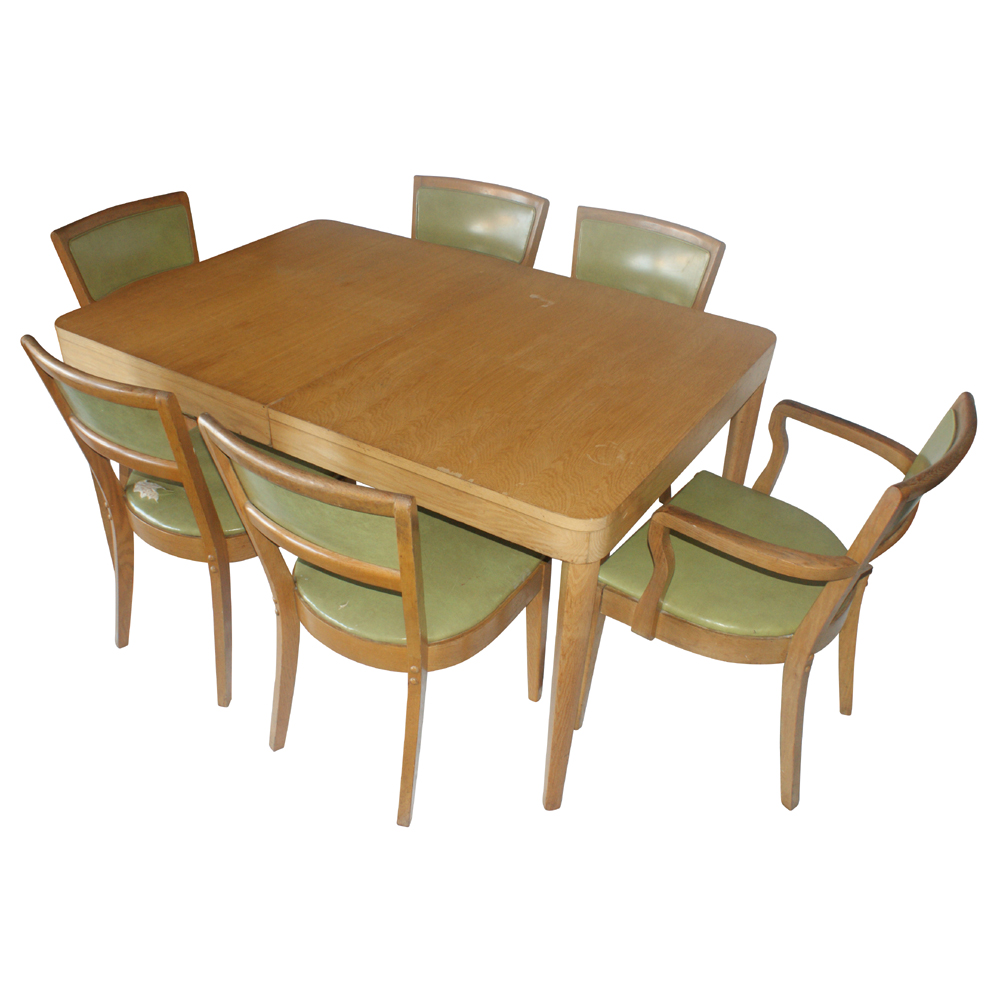 Vintage oak dining table and 4 side chairs set ebay for Four chair dining table set