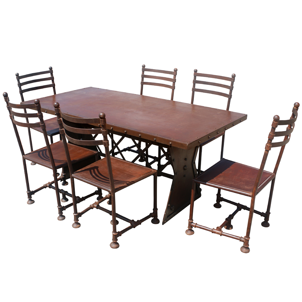 """Industrial Metal Dining Table: 72"""" Industrial Machine Age French Steel Dining Table"""