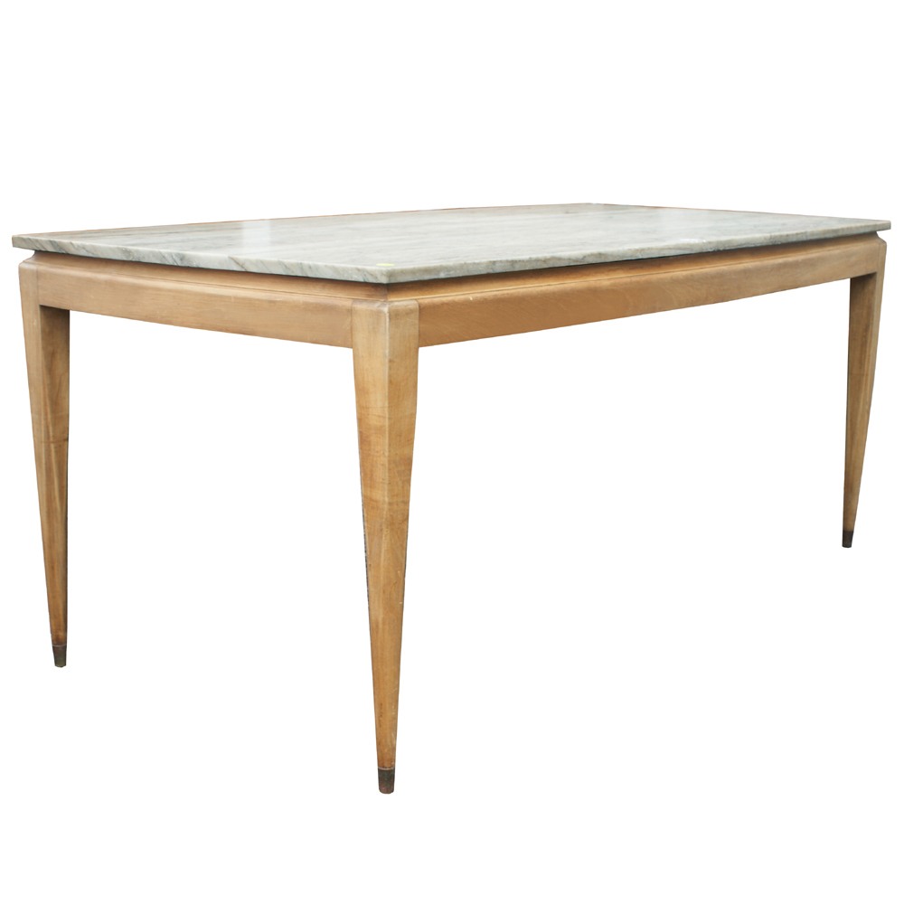 Vintage Marble And Wood Italian Dining Table 3 4 Thick Marble Table