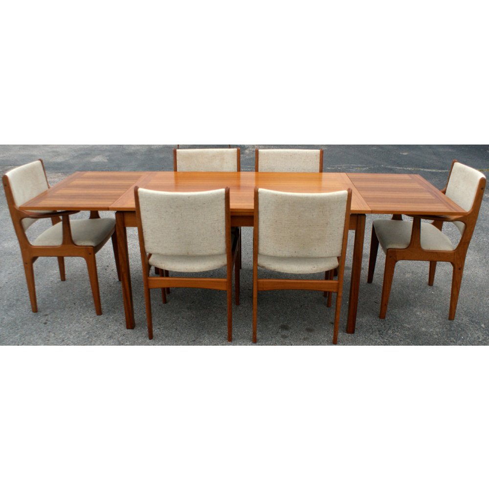 Teak Dining Room Table And Chairs: Danish Style Solid Teak Expandable Dining Set