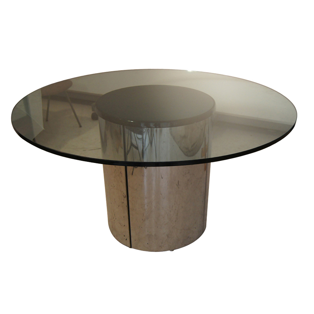 54 round vintage chrome and glass dining table round glass top