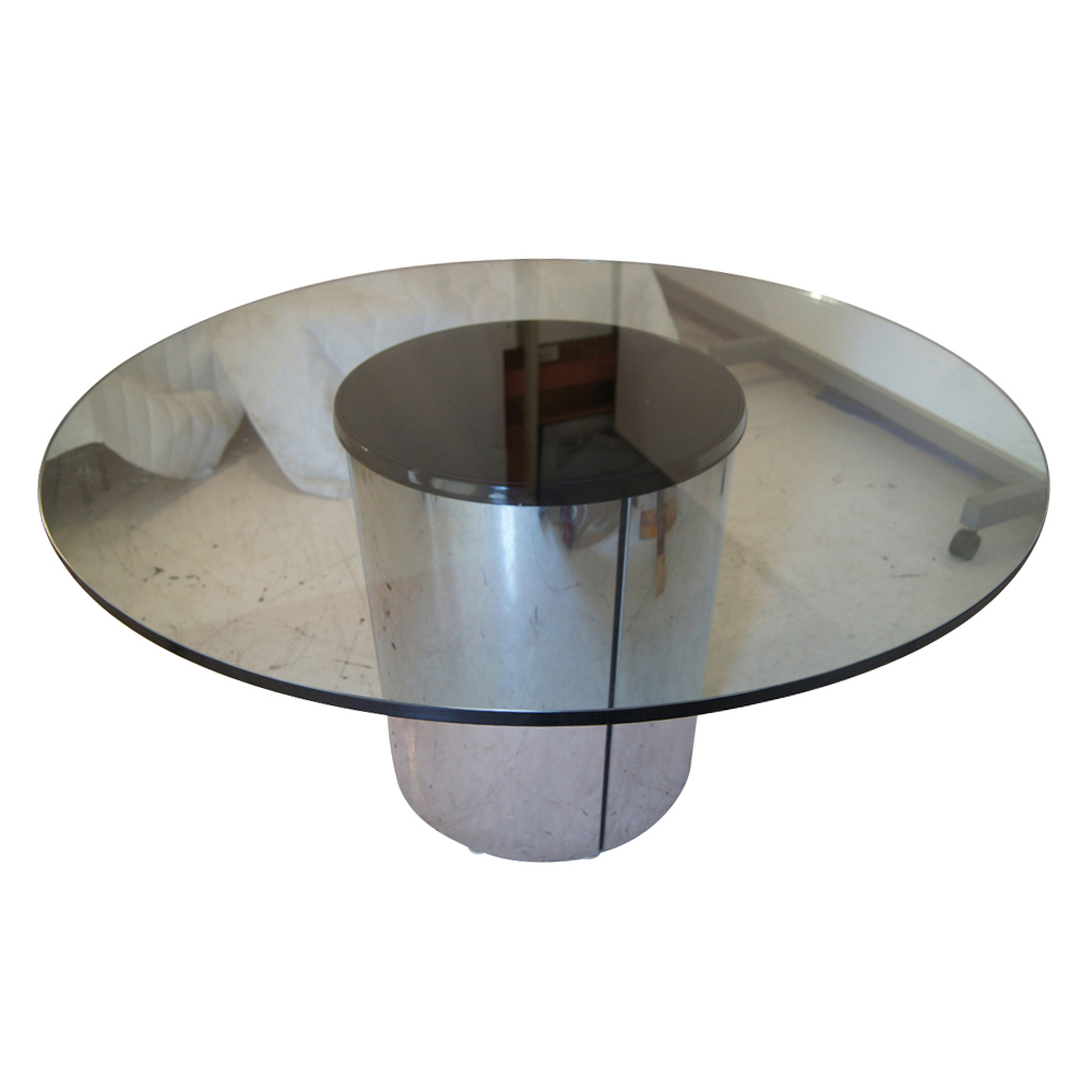 Chrome And Glass Dining Table Round Glass Top Cylindrical Chrome
