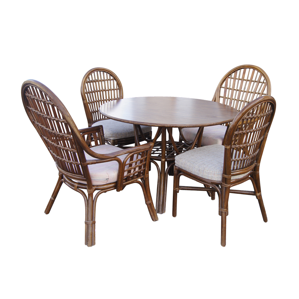 Vintage rattan dining table and chairs ebay for Dining table and chairs