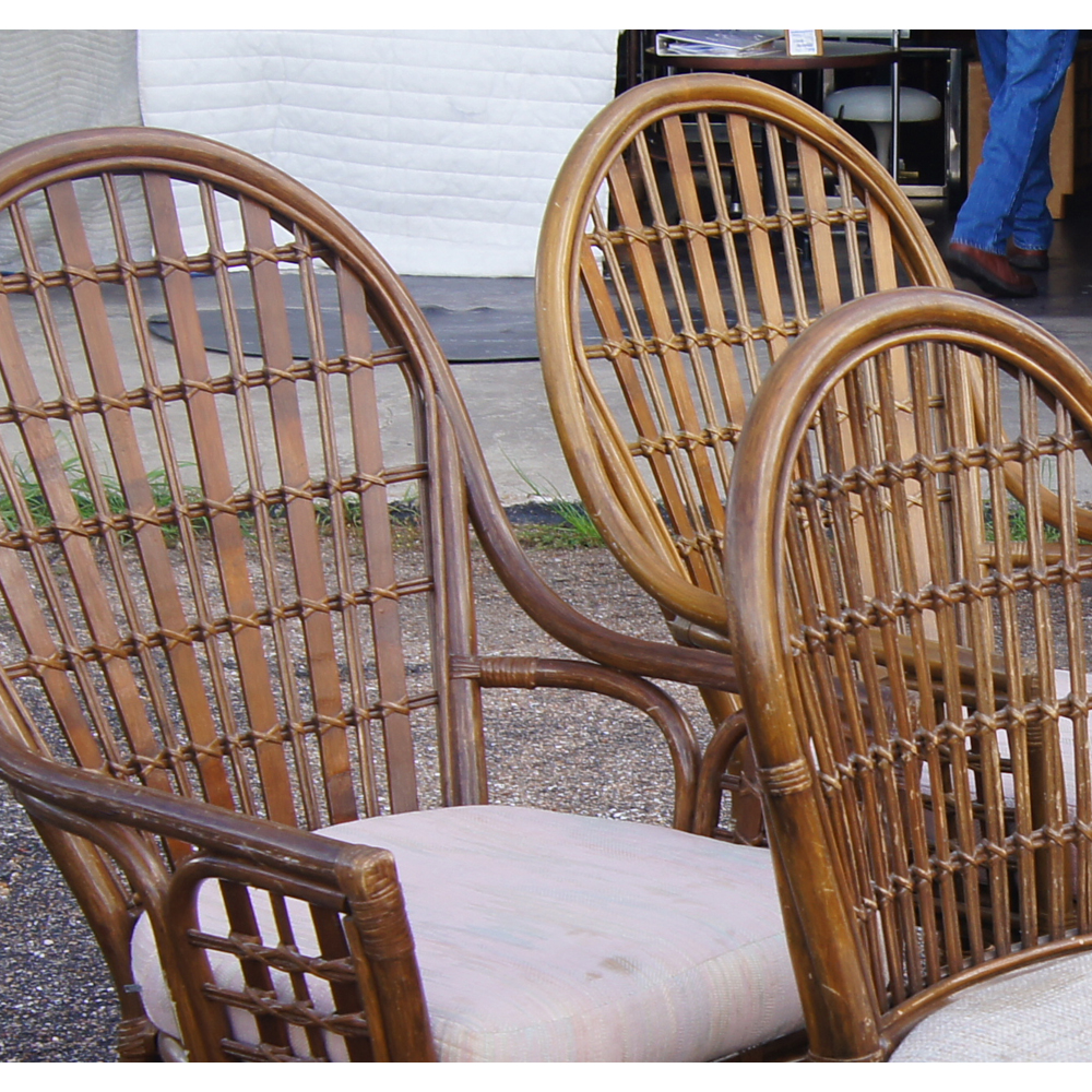Vintage Rattan Dining Table And Chairs