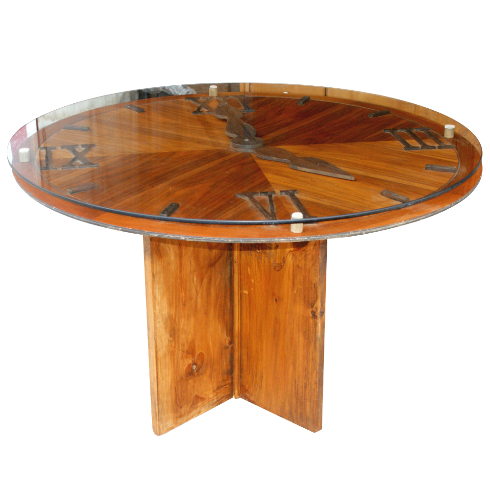 47 vintage clock wood dining round table ebay for Dinner table wood