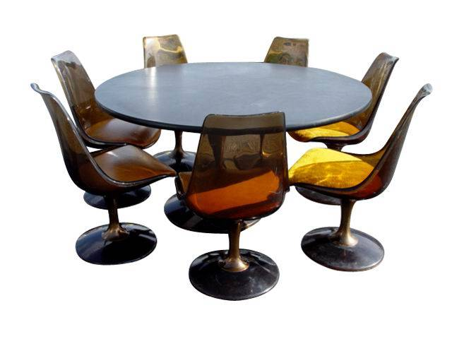 Chromcraft Tulip Base Acrylic Dining Table U0026 Chairs Set Saarinen Inspired