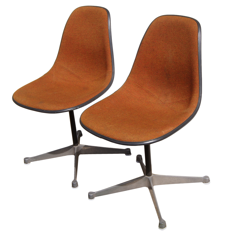 2 Vintage Herman Miller Eames Upholstered Fiberglass Side Shell Chairs EBay