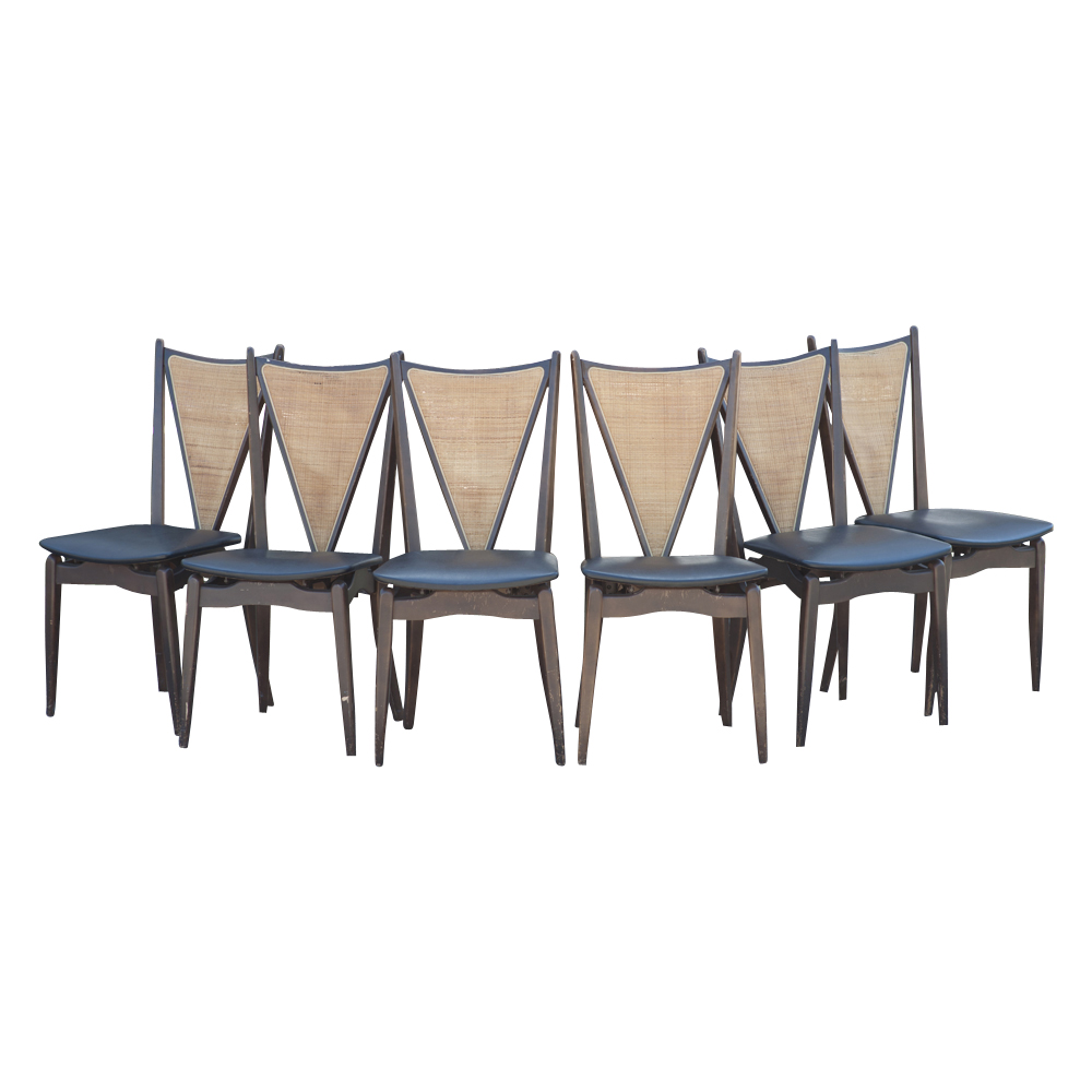 6 Stakmore Mid Century Modern Cane Back Folding Chairs