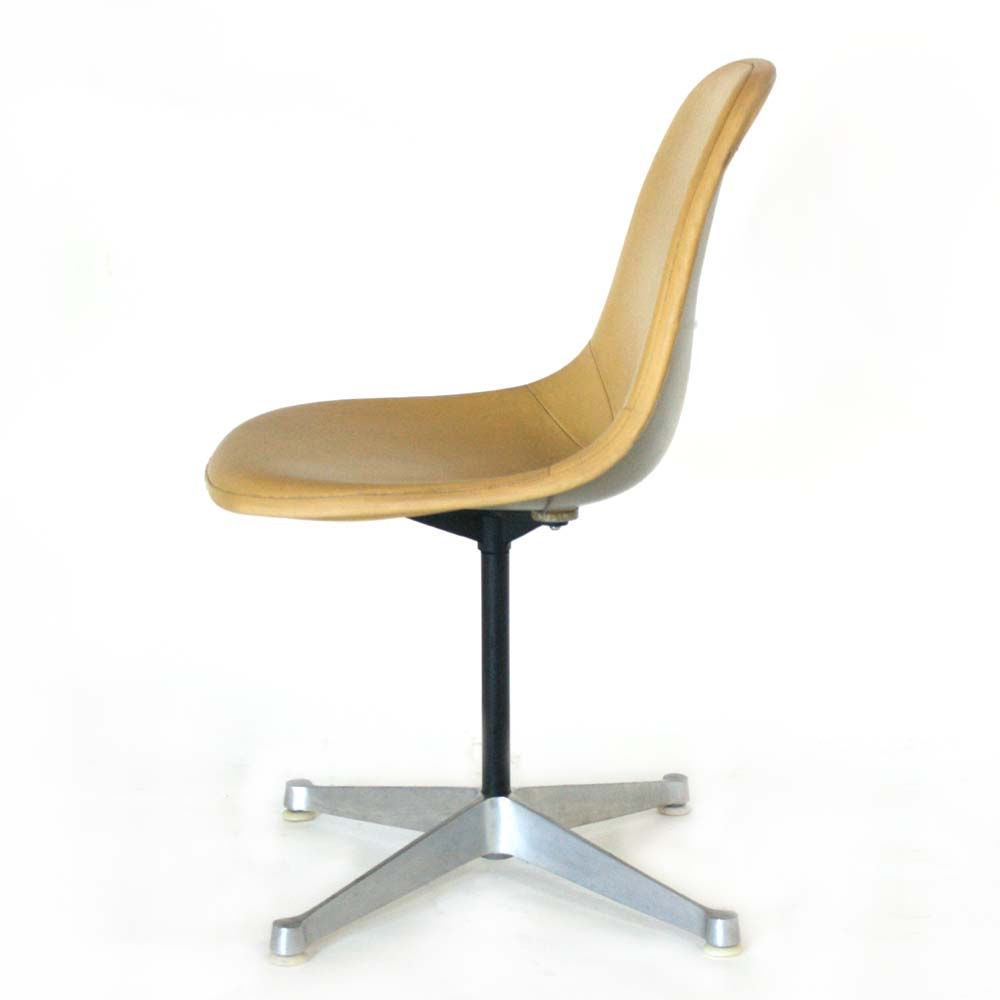 herman miller eames yellow vinyl shell side chair ebay. Black Bedroom Furniture Sets. Home Design Ideas