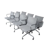 Set Of Eight Vintage Aluminum Group Management Chairs Designed By Eames For Herman  Miller