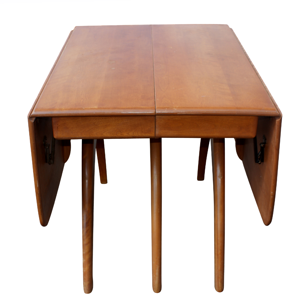 76 Heywood Wakefield Triple Pedestal Dining Table EBay