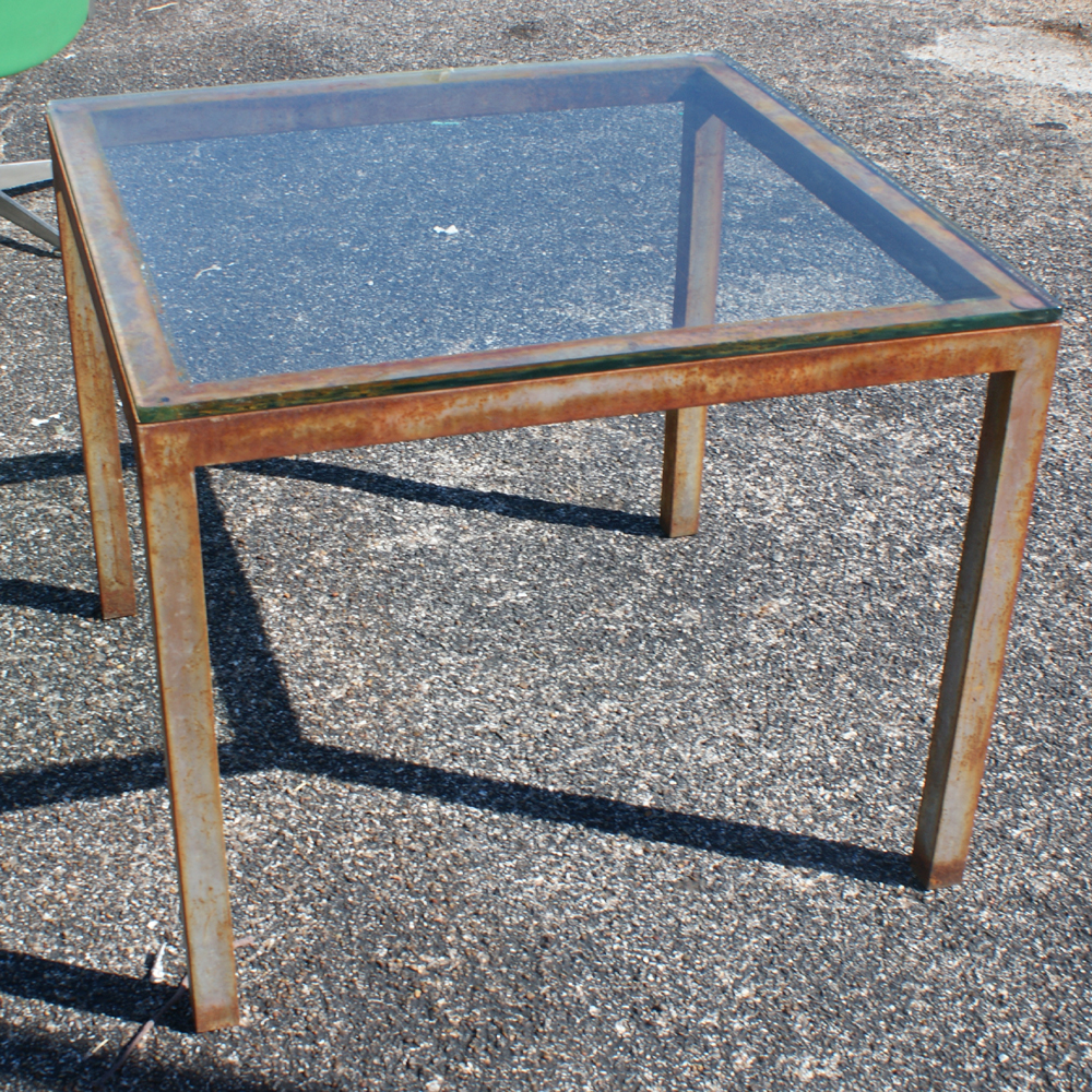 Midcentury retro style modern architectural vintage for Square industrial dining table