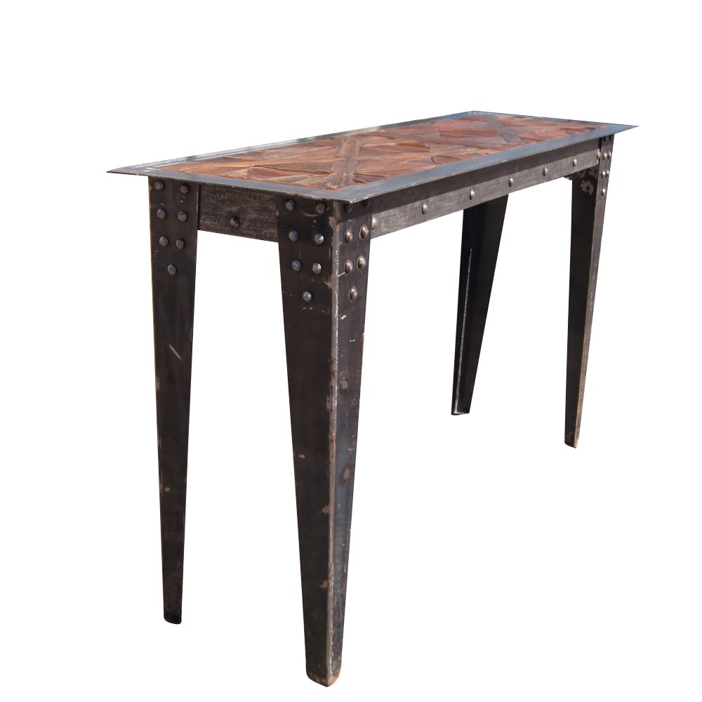 Steel Table : Details about Vintage Heavy Industrial Steel Wood Console Table