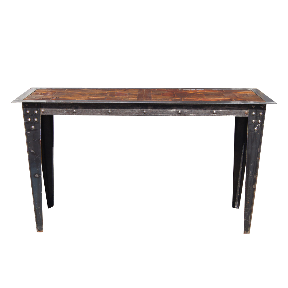 Vintage Heavy Industrial Steel Wood Console Table EBay