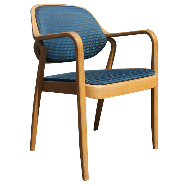 Metro retro furniture 1 knoll don petitt 1105 side chair bent oak wood blue - Knoll life chair parts ...