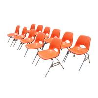 Beau Vintage Small Size Krueger Orange Fiberglass Side Stacking Chairs   Price  For 1 (8 Available)