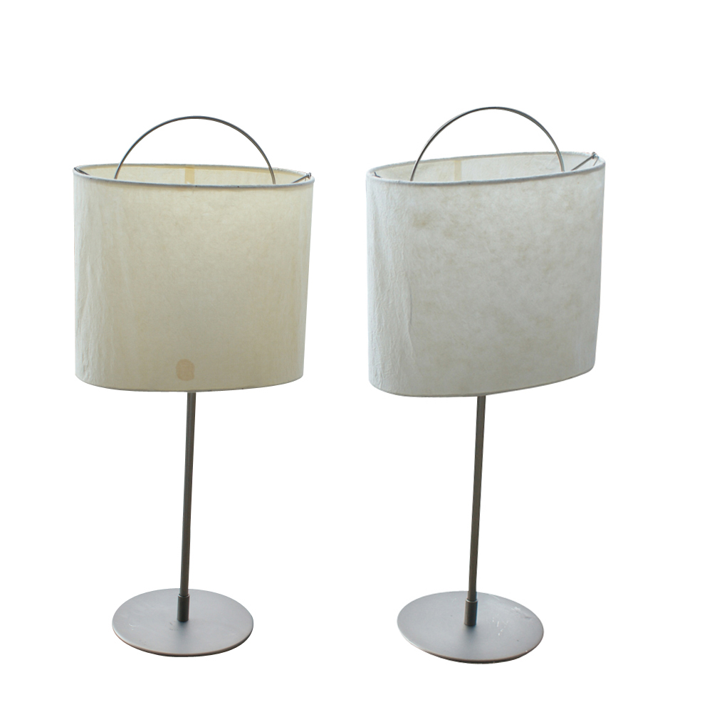 details about 2 mid century modern chrome table lamps with shades. Black Bedroom Furniture Sets. Home Design Ideas