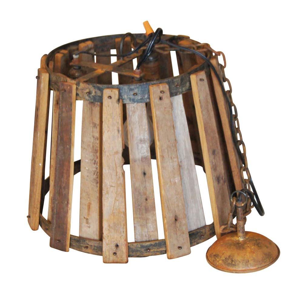 Vintage industrial wood and metal hanging ceiling lamp ebay for Ceiling lamp wood