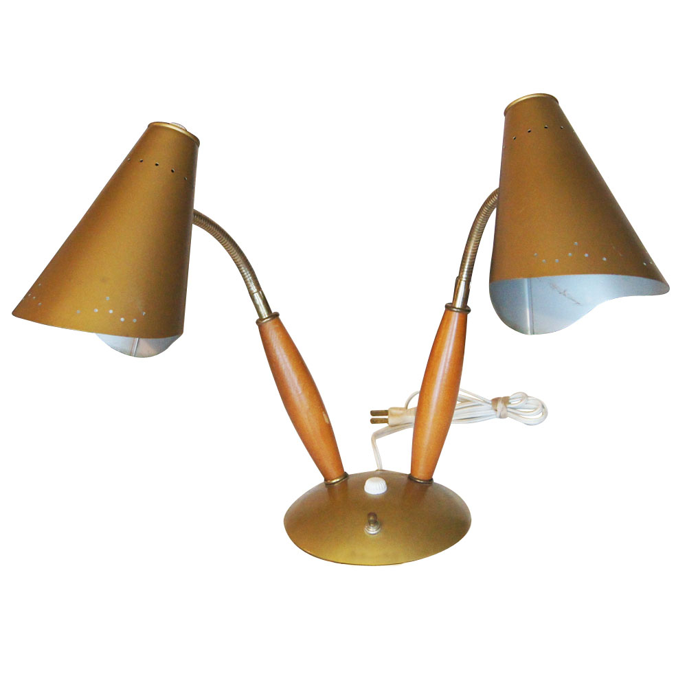 details about vintage mid century double cone table lamp. Black Bedroom Furniture Sets. Home Design Ideas